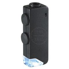 160x - 200x Illuminated Zoom monocular Microscope Pocket Magnifier Jewelry glass Loupe black