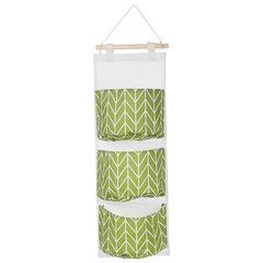 waterproof Storage Hanging bag hanging Multi-layer Hanging pocket Cotton fabric Sundries Storage bag green one size
