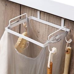 Iron art cupboard Garbage rack kitchen Garbage rack Plastic bag trash can support Storage rack white one size