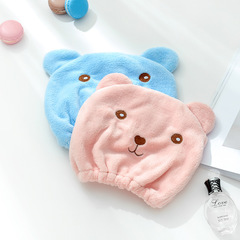 Bathing Bear Cartoon Dry hair cap Super strong hair scarf Water absorption Shower cap blue one size