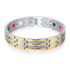 Men atmosphere Titanium steel Bracelet Wide version magnet energy Bracelet gold silver one size