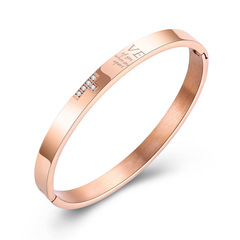 Creative cross Couple wristband Titanium steel Couple Diamond Rose gold bracelet rose gold ms one size