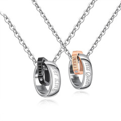 Ms Her King His Queen Titanium steel Couple Necklace fashion Double ring Pendant rose gold ms one size
