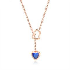 Ms temperament sweet Item Titanium steel Love necklace Diamond Clavicular chain rose gold ms