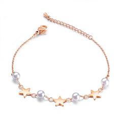 Ms sweet lovely Artificial pearl Bracelet star Titanium steel Bracelet rose gold ms