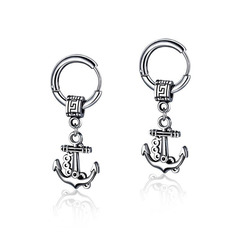 Western style fashion personality Anchor Stud earring Retro Men earring Ear ring silver one size