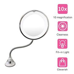 360 Degree 10X Fold Mirror Rotating Makeup Mirror Magnifying Makeup Mirror with LED Light white one  size
