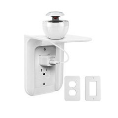 Wall Outlet Shelf Power Perch Charging Home Speaker Cell Phones Storage Rack white one size