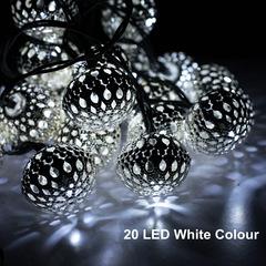 Solar energy 20LED Silver ball light post Iron art String light Christmas festival Decorative lights white ligth one size