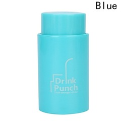Drink Through A Straw Drink Punch Water Bottle Cap Hole Maker Juice Beverage Lid Straws blue one size