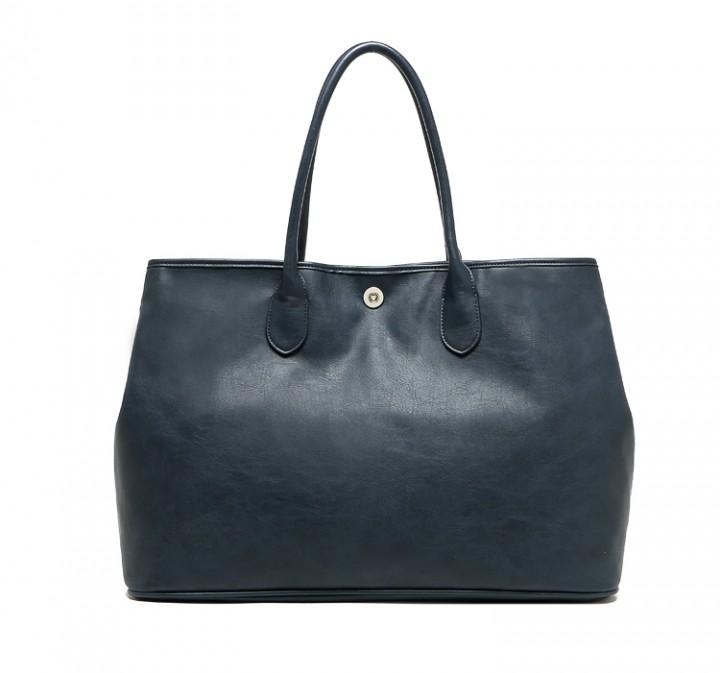 Commute large capacity Handbag Shopping bag Mummy bag Dark blue dark blue one size