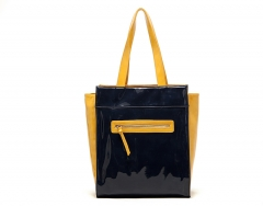 Fancy patent leather Handbag Shoulder bag Yellow and Black Yellow and Black one size