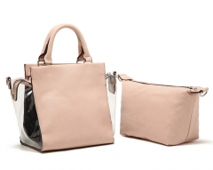 Elegant ladies 2 pieces Tote Handbag Shoulder bag Nude Pink Nude Pink one size