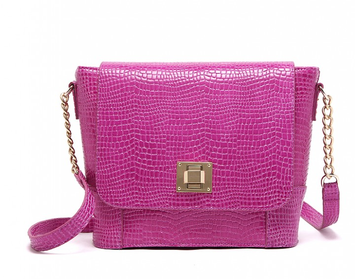 Chic chain stone pattern PU leather Flip bag Shoulder bag rose red one size