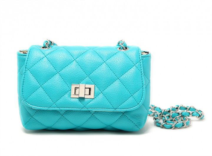 Chic bright candy color chain rhyme pattern small bag Shoulder bag Light Blue one size