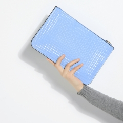 Simple is more style pyramid pattern Ladies Clutch bag Evening bag light blue one size