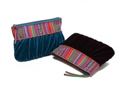 Fancy ethnic corduroy Makeup bag Cluch bag purple big size