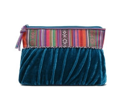 Fancy ethnic corduroy Makeup bag Cluch bag peacock blue big size