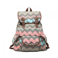 Bohemian style pattern Canvas Back bag Shoulder bag College style gray big size
