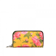 Chinese Style flower print pattern Canvas Makeup bag Cluch bag Wallet yellow one size