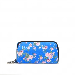 Chinese Style flower print pattern Canvas Makeup bag Cluch bag Wallet white one size