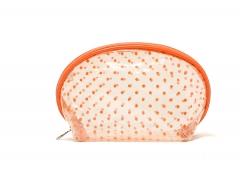 Sweet PVC transparent waterproof orange dot Makeup bag Wash bag orange dot one size