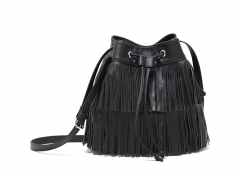 New fashion chic PU leather tassel Bucket bag Crossbody bag black one size
