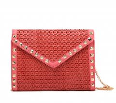 Chic rivet and very fine knit pattern ladies Clutch bag Shoulder bag red one size