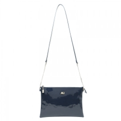 Classic Simple is more style patent leather chain Clutch bag Crossbody bag dark blue one size
