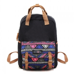 Ethnic pattern Back bag Shoulder bag Handbag Black College style Unisex Black black big size