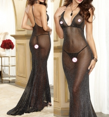 Sexy Babydolls glisten backless Lingerie Sheer Underwear Costume Dovetail dress  Body  Underwear black one size