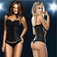 Women's Latex Sport Girdle Waist Training Corset Waist Body Shaper Black L
