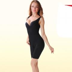 Women's Seamless Shapewear Open-Bust Mid Thigh Bodysuit Shapers black L-XL
