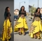 Women's African Floral Print Maxi Skirts A Line Long Skirts Yellow M