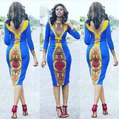 Women Long Sleeve African Print Dress Kaftan Party Dress blue m