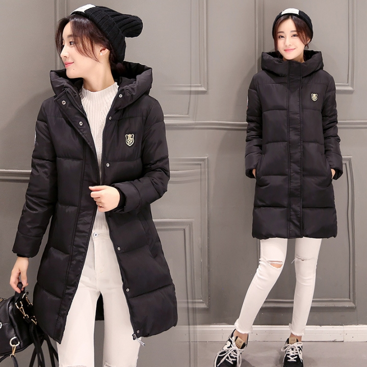 Womens Hooded Warm Winter Faux Fur Lined Parkas Long Coats Black M