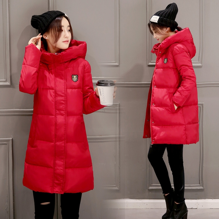 Womens Hooded Warm Winter Faux Fur Lined Parkas Long Coats Red M