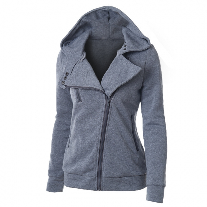 Women Full Slide Zip Up Fleece Hoodie, Fashion Sweater /Sweatshirt Jacket Dark Gray M