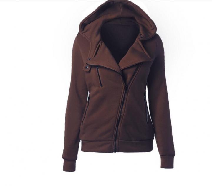 Women Full Slide Zip Up Fleece Hoodie, Fashion Sweater /Sweatshirt Jacket Coffee M