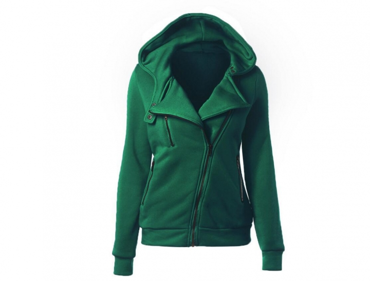 Women Full Slide Zip Up Fleece Hoodie, Fashion Sweater /Sweatshirt Jacket Green M