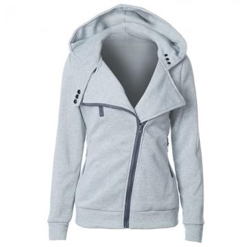 Women Full Slide Zip Up Fleece Hoodie, Fashion Sweater /Sweatshirt Jacket light gray S