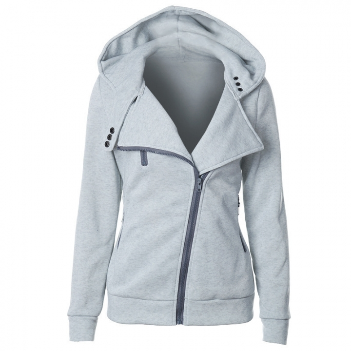 Women Full Slide Zip Up Fleece Hoodie, Fashion Sweater /Sweatshirt Jacket light gray L