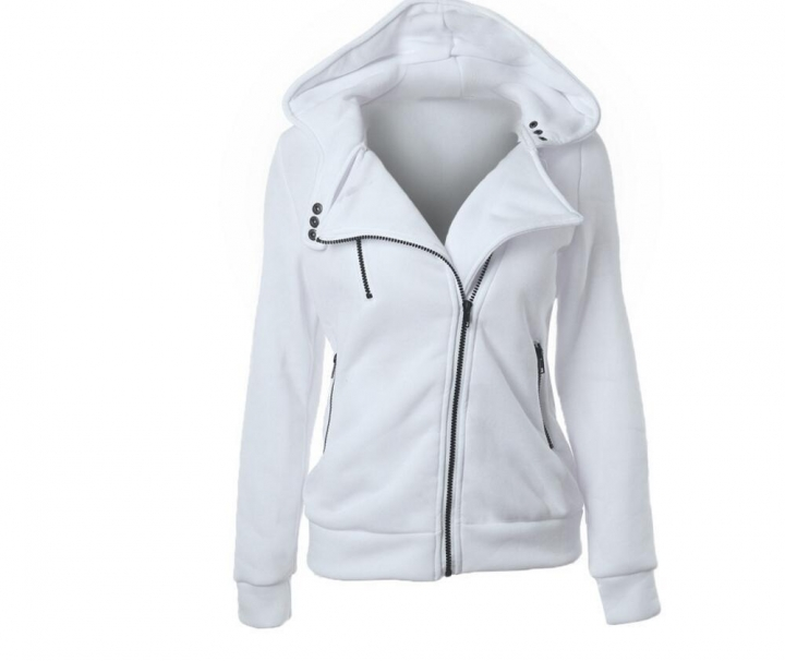 Women Full Slide Zip Up Fleece Hoodie, Fashion Sweater /Sweatshirt Jacket White L