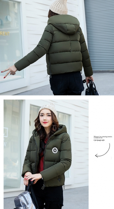 2017 jackets women autumn winter Fashion Casual Basic jacket Cotton coat Short outwear Army green xl