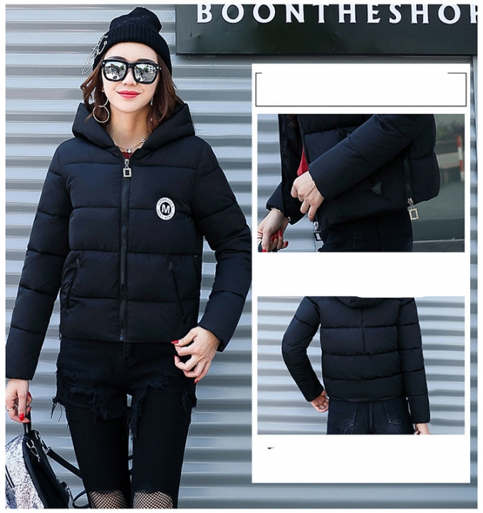 2017 jackets women autumn winter Fashion Casual Basic jacket Cotton coat Short outwear black xxl