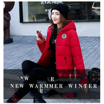 2017 jackets women autumn winter Fashion Casual Basic jacket Cotton coat Short outwear red xl
