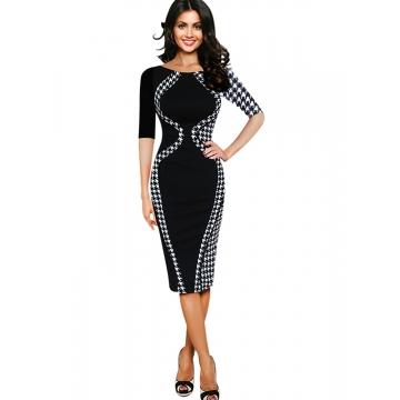 Women's Scoop Neck Optical Illusion Business Bodycon Dress Black half sleeve 3XL