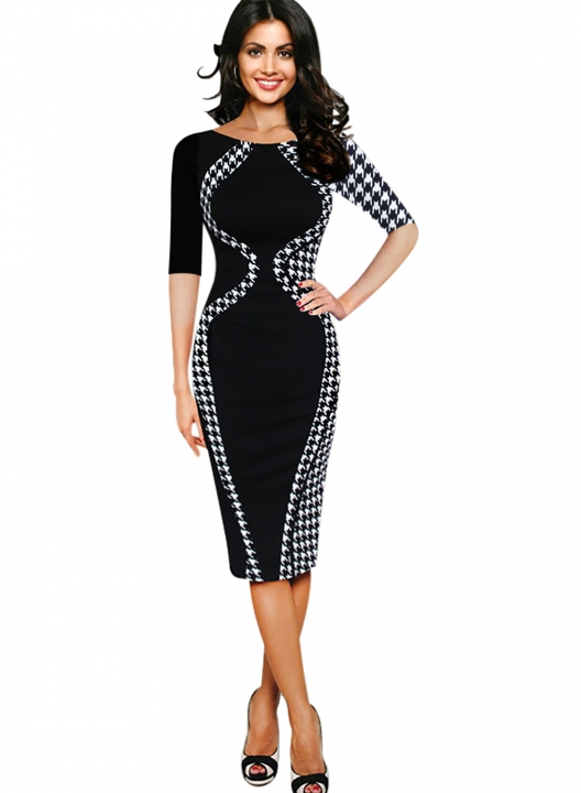 Women's Scoop Neck Optical Illusion Business Bodycon Dress Black half sleeve 3XL