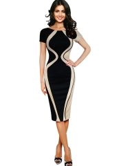 Women's Scoop Neck Optical Illusion Business Bodycon Dress s
