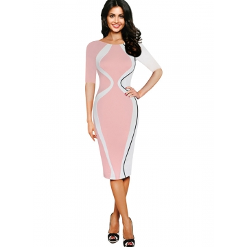 Women's Scoop Neck Optical Illusion Business Bodycon Dress Pink half sleeve l